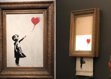 "Banksy-ს 1 300 000 დოლარიანი ნახატი ""თვითგანადგურდა"""