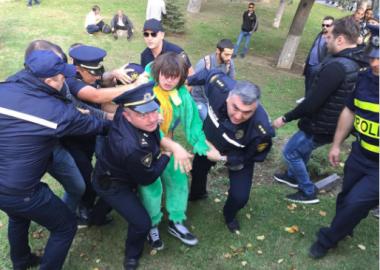 დღის ფოტო: შსს ცხოველების ფორმაში გამოწყობილ ადამიანებს აპატიმრებს