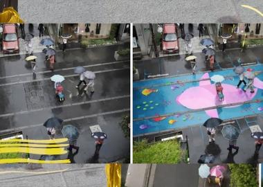 კორეაში ქუჩები სპეციალური საღებავით მოხატეს, რომელიც მხოლოდ წვიმის დროს ჩანს
