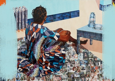 ნიგერიელი არტისტის ნახატები შორიდან და ახლოდან დათვალიერებისას სხვადასხვა ამბავს გვიყვება