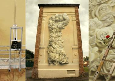 ქუჩის მხატვარი პულვერიზატორით სუპერრეალისტურ 3D გამოსახულებებს ქმნის
