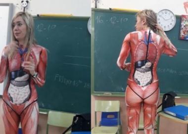 მასწავლებელი ანატომიის გაკვეთილს ადამიანის სხეულის კოსტიუმით ატარებს