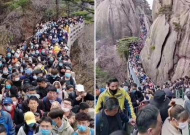"""კარანტინის მოხსნისთანავე ჩინეთის კურორტებზე """"ადამიანების საცობები"""" შეიქმნა - დღის ფოტო"""
