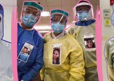 ექიმები პაციენტების დასანახავად სპეცტანსაცმელზე საკუთარ გაღიმებულ ფოტოებს იმაგრებენ