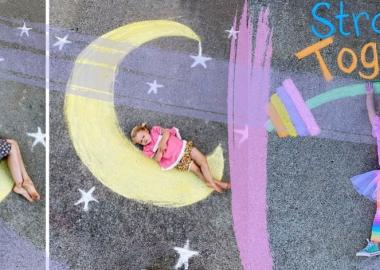 ცარცით შექმნილი ხელოვნება თვითიზოლაციაში მყოფი ბავშვებისთვის