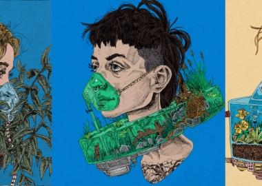 პირბადეები აკვარიუმებითა და მცენარეული საფარით - კიტ ლეიფილდის სიურრეალისტური ილუსტრაციები